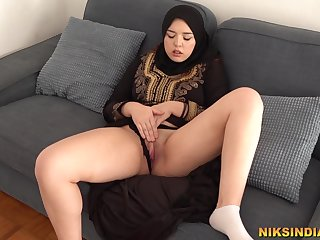Hot Muslim Teen masturbates together with gives Blowjob to Fellow-man