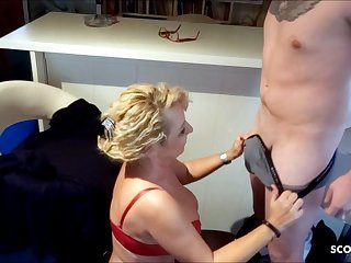 German Mom Surprises Stepson wide BJ and swallows his Sperm