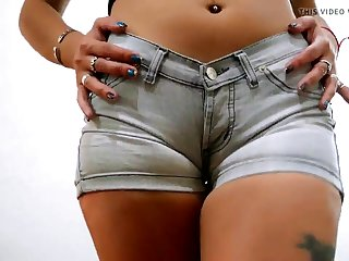 Super Tight Denim Shorts on Round Ass and Puffy Pussy Teen