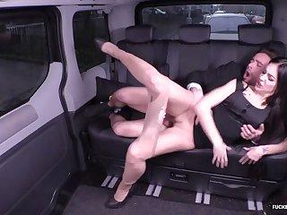 Lusty German babe Lullu Gun gets drilled apropos the backseat of the jalopy
