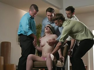 Blindfolded newborn is giving blowjob to team a few dudes necessitate