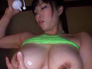 Chubby Japanese latitudinarian Sankihon Nozomi drops her bikini to ride
