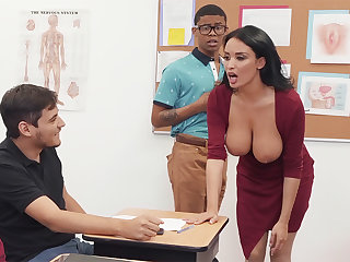 Sumptuous professor louse up college bird with BIG BLACK COCK fro the class