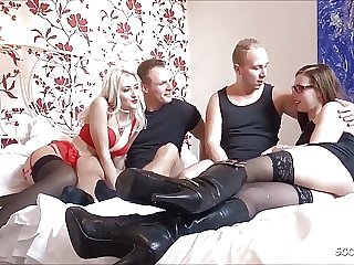 German Show one's age Change Foursome with Skinny College Teen
