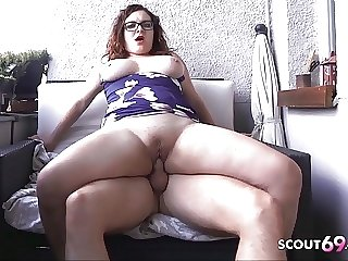 Curvy Swinging Gut Teen with Glasses Have sex on Balcony German