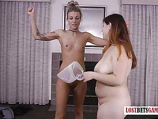 Skinny Light-complexioned Takes on a Chubby Brunette, Loser Get Strapped