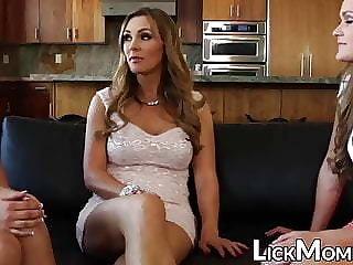 Beautiful Abby Cross swallows pussy in stepmom threeway