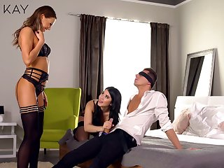 Two sensual girls fondle each other before passionate triptych sexual relations