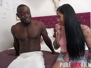 BBC fucks smoking hot sickly phase Kimmie Foxx together with cums on her boobs