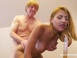 Red-hot haired old leman is banging his pretty student at home