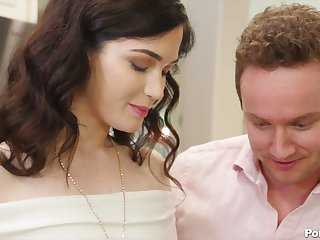 Cute young housewife Evelyn Claire gets fucked plus gets cum mustache