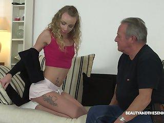 Elderly fart enjoys fucking deep throat and wet punani of 9 yo nympho Angel Emily