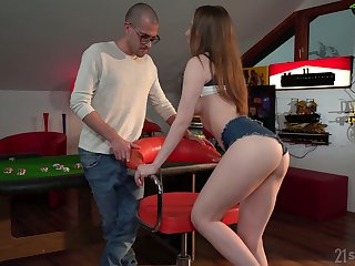 Nerdy buddy is so into licking holes belonged fro sexy Lina Mercury