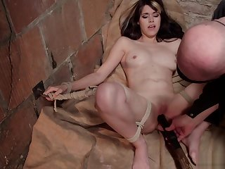 Tied slave gets vibrated here basement