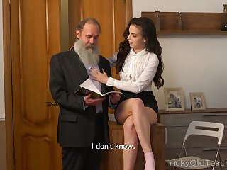Naughty Russian brunette Milana Witch provides old man with a blowjob