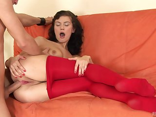 Hard anal penetration for amazing dilettante brunette girl during casting