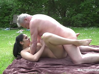 This hot young and old affair comes to an end when he cums on her tits