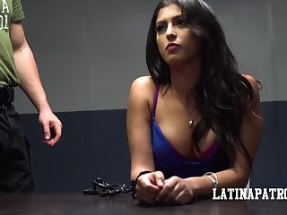 Arrested Latin babe Sophia Leone is fucked hard overwrought kinky policeman