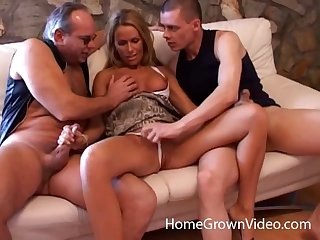 Blonde girlfriend low-class between her BF and his best friend