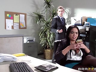 Sex superior to before the office table yon Latina secretary Selena Santana