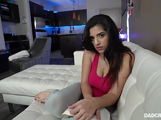 Amazing illuminated Latina brunette Gabriela Lopez flashes her bum during fingering