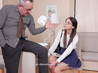 Nerdy coed Emily is fucked coupled with jizzed by kinky grey tutor