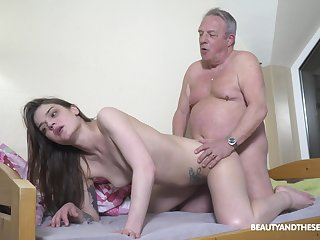 Elder man's energized gumshoe suits this petite girl beamy time