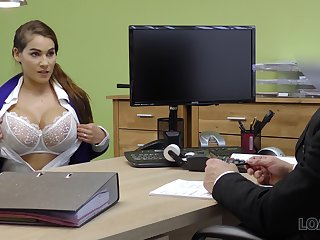 Replete breasted babe Mischel gives a blowjob with an increment of gets fucked for loan