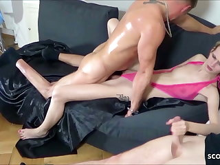 Two Guys Tricked Skinny German Teen Jenny into Inexact Threesome