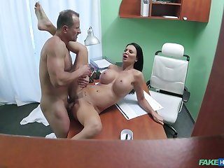 Big-breasted Jasmine Jae gets fucked good in front doc's office