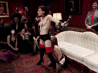 Alice March together with Audrey Holiday are into the middle the subs at a BDSM gang
