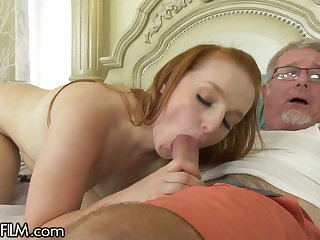 Young Redhead Wants Her Step-Grandpa's Huge Gumshoe Inside Her