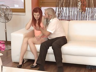 Old pervert seduces pretty red haired girlfriend be worthwhile for his grandson