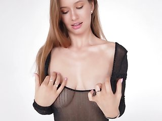 Sweet beauty Stella exposes with the addition of plays with her juicy boobies