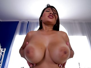 Babe rides dick amend than anyone and she's sexy alongside those huge tits