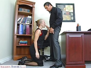 Sexy transcriber Kylie Wilde gives a blowjob and gets fucked on the boss's table