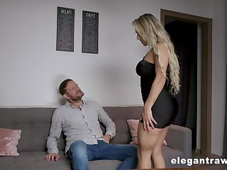 Dissolute and curvy tow-haired sexpot Mia Linz gets both holes fucked doggy hard